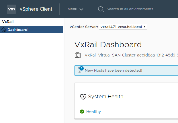 New Hosts detected with VxRail SmartFabric