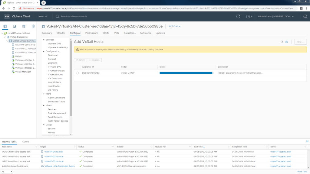 hosts connected to VxRail SmartFabric are automatically configured