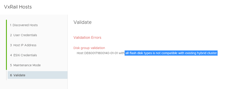 VxRail hosts validation errors disk group validation
