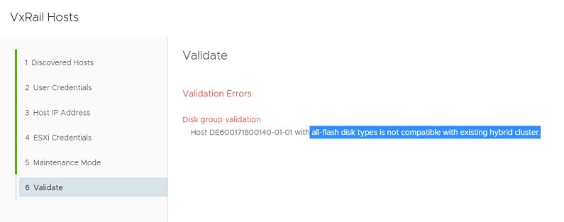 VxRail hosts validation errors disk group validation